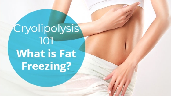"""Woman showing her slim abdomen with the title """"Cryolipolysis 101: What is Fat Freezing?"""""""