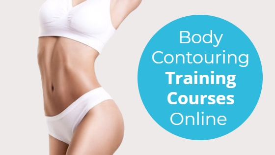 """Woman in white bikini with the title """"Body Contouring Training Courses Online"""""""