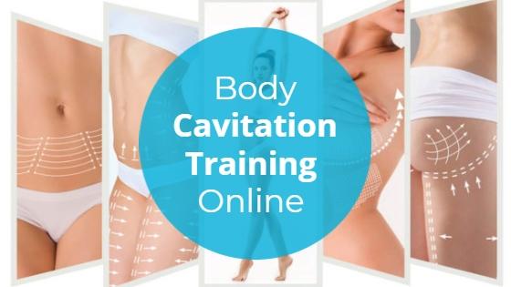 "Slim woman in a white bikini with the title ""Body Cavitation Training"""