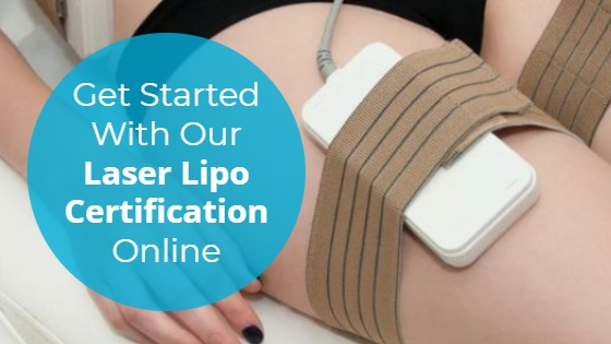 """Woman having a Laser Lipolysis treatment on her thighs with the title """"Get Started With Our Laser Lipo Certification Online"""""""