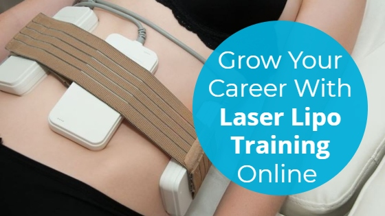 """Woman having a Laser Lipolysis treatment on her abdomen with the title """"Grow Your Career With Laser Lipo Training Online"""""""