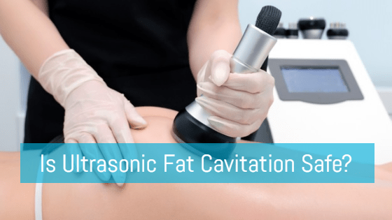 "Woman having a fat cavitation treatment on her buttocks with the title ""Is Ultrasonic Fat Cavitation Safe?"""