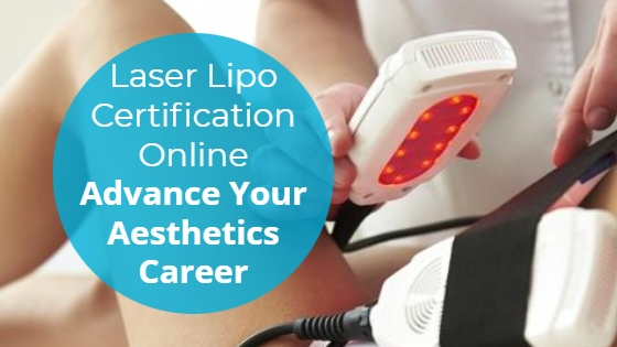 """Woman having a Laser Lipolysis treatment on her abdomen with the title """"Laser Lipo Certification Online: Advance Your Aesthetics Career"""""""