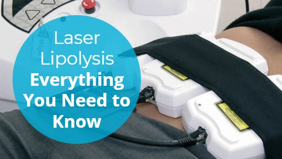 """Lipo laser pads strapped to a women's abdomen with the title """"Laser Lipolysis: Everything You Need To Know"""""""