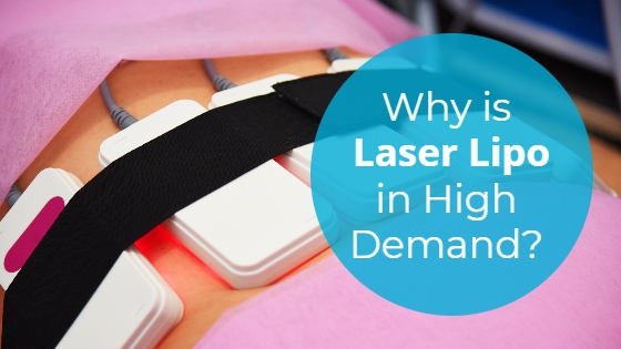 """Woman having a laser lipolysis treatment on her abdomen with the title """"Why is Laser Lipo in High Demand?"""""""