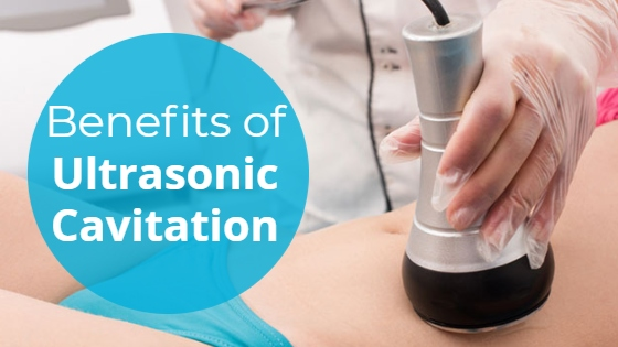 """Woman having a fat cavitation treatment on her abdomen with the title """"Benefits of Ultrasonic Cavitation"""""""