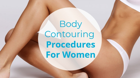 """Young woman with long legs in a white bikini with the title """"Body Contouring Procedures for Women"""""""