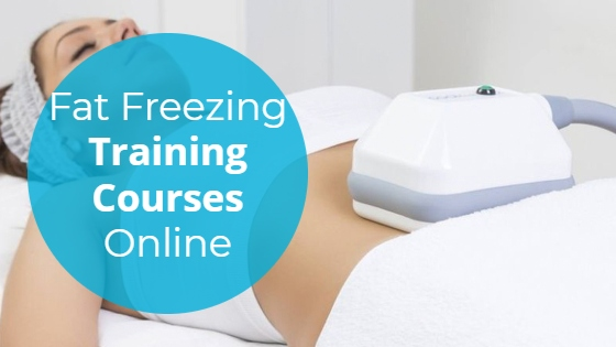 """Woman having a Cryolipolysis treatment on her abdomen with the title """"Fat Freezing Training Courses Online"""""""