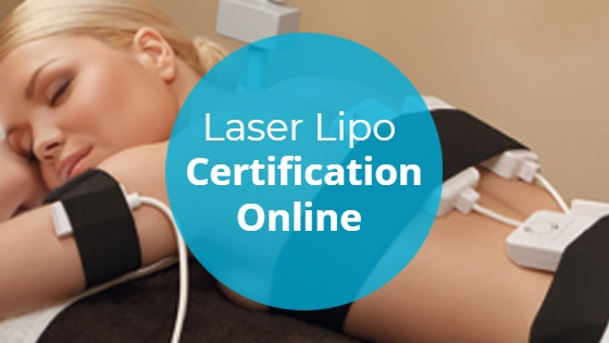 """Blonde woman having a Laser Lipolysis treatment on her back and arms with the title """"Laser Lipo Certification Online"""""""