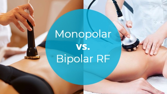 """Side-by-side comparison of monopolar and bipolar RF treatments with the title """"Monopolar vs. Bipolar RF"""""""