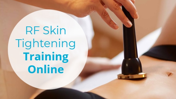 """Woman having a Radio Frequency treatment on her abdomen with the title """"RF Skin Tightening Training Online"""""""