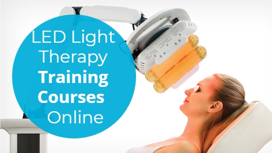 """Woman having an LED light treatment for her face with the title """"LED Light Therapy Training Courses Online"""""""