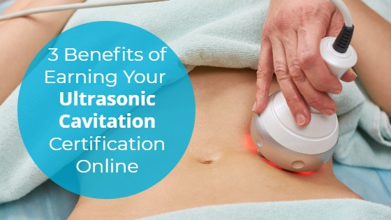 """Woman having an ultrasonic cavitation treatment on her abdomen with the title """"3 Benefits of Earning Your Ultrasonic Cavitation Certification Online"""""""