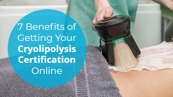 """CoolSculpting treatment for the abdomen with the title """"7 Benefits of Getting Your Cryolipolysis Certification Online"""""""