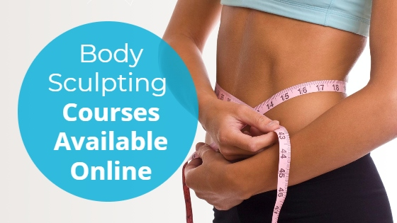 """Athletic woman with a tape measure around her waist with the title """"Body Sculpting Courses Available Online"""""""