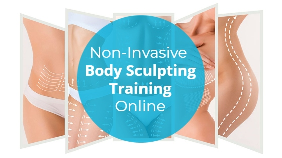"""Images of body areas with contour lines drawn on with the title """"Non-Invasive Body Sculpting Training Online"""""""