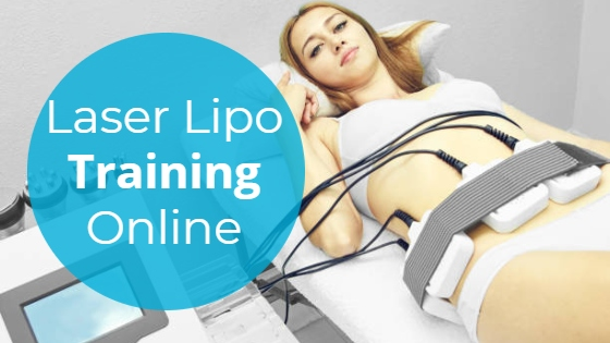 """Woman having a Laser Lipolysis treatment on her abdomen with the title """"Laser Lipo Training Online"""""""